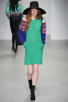 I'm voting this pocketed dress most likely to be seen in a crochet mag come fall (Sister by Sibling F14 RTW)