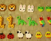 Animal Perler Earrings or Keychain! Lion - Fox - Bunny - Frog - Giraffe - Dinosaur - Parrot - Ladybug - Sheep - Duck