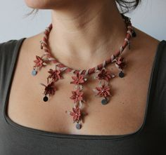 Autumn Inspired Needle Lace Necklace by DESIGNEDBYS on Etsy