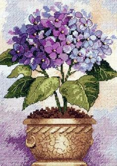 Dimensions Gold Counted #crossstitch  HYDRANGEA IN BLOOM #decor #DIY #crafts