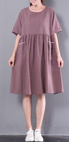 casual patchwork linen dress plus size plaid sundress short sleeve women dress