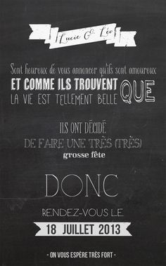Un faire part « chalkboard » | Blog mariage, Mariage original, pacs, déco, save the date, annonce originale