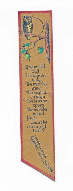 Vintage Leather book mark-Hand Painted Owl  poem Grand Canyon Nat Park Arizona