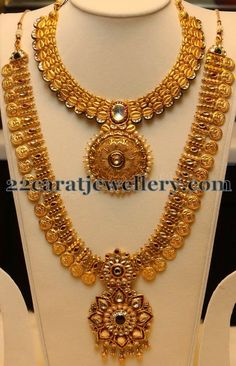 Jewellery Designs: Gold Haram Designs by Manepally