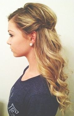 Beautiful long hairstyle...could use bobbi pins or a mini clip to keep it back.