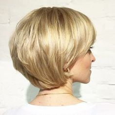short layered golden blonde bob                                                                                                                                                                                 More