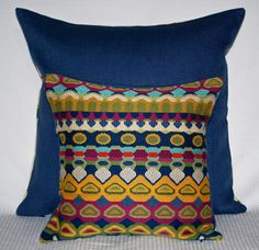 CLASSIC  CHIC:  Gprgepis Multi-Colored Tapestry in Rich Ethnic Motif backed in Periwinkle Linen Blend.  www.BangaruBags.com