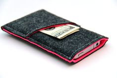 Wool felt Dark Gray and Hot Pink phone pouch