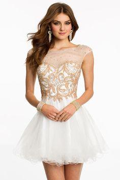 2014 Homecoming Dresses A Line Scoop Short/Mini Ivory