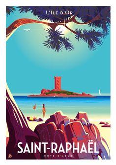 Travel Poster - Saint-Raphaël - France - by Richard Zielenkiewicz. Retro Poster, Old Poster, Art Deco Posters, Vintage Travel Posters, Vintage Postcards, French Illustration, Travel Illustration, Illustration Children, Illustration Girl