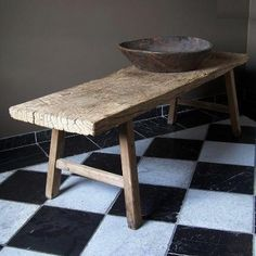 Antique Coffeetable & Old Wooden Bowl
