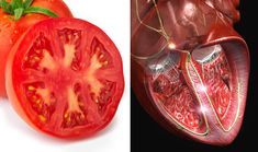 Tomatoes have multiple chambers that resemble the structure of a heart and, because of the lycopene in tomatoes, there is a reduced risk of heart disease in men and women who eat them.