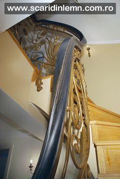 scara interioara lemn cu mana curenta lemn curbat, placare trepte lemn, pret proiectare amenajare