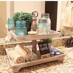 We love how The Hamby Home styled a tiered tray for her guests! We will have many different tiered tray deals coming your way. We love to make our guests feel special and this set up is perfect! Bathroom Counter Decor, Bathroom Organization, Bathroom Ideas, Bois Diy, Tray Decor, Home And Deco, Houzz, Farmhouse Decor, Home Goods