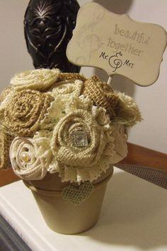 Romantic flower arrangement wedding engagement anniversary Flower bouquet in vase / pot Ivory white and natural burlap flowers wedding sign