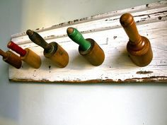Coat rack made with rolling pins. http://www.hgtv.com/specialty-rooms/repurposing-household-items-for-closet-organization/pictures/page-18.html?soc=pinterest