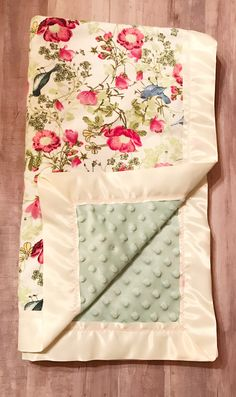 Baby girl spring easter crib blanket baby shower gifts for a vintage floral flannel and sage green minky blanket for baby girl x satin bound with soft baby pink decorative stitching an amazingly lovely easter gift negle Image collections