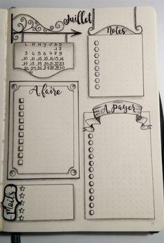 Source Gaëlle Auffret via le groupe FB Bullet Journal - Version française Bullet Journal Headers, Bullet Journal Notes, Bullet Journal Ideas Pages, Bullet Journal Layout, Bullet Journal Inspiration, Journal Pages, Bullet Journal Frames, Kalender Design, Sketch Notes