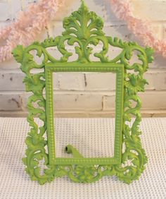 Ornate Cast Metal Frame...Upcycled in Fabulous Apple Green. $22.00, via Etsy.