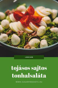 A legegyszerűbb tonhalas saláta mini mozzarellával, tojással Mozzarella, Sprouts, Low Carb, Vegetables, Food, Meal, Essen, Vegetable Recipes, Hoods