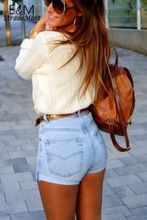 Nueva llegada de corea del verano Jeans moda mujeres Casual Solid delgado de cintura alta Short Denim Damen vaqueros engaste Hot Shorts 60(China (Mainland))
