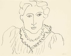 "Henri Matisse French Artist, 'Femme au Collier', pen & India ink on paper @ NEW YORK CITY - -- - ""Don't wait for inspiration. It comes while one is working. Henri Matisse, Paper News, India Ink, French Artists, Things To Come, Photo And Video, Creative, York, Inspiration"