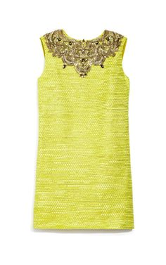 Shop Embellished Metallic Weave Shift Dress by Marchesa Now Available on Moda Operandi