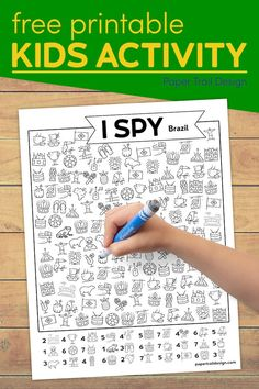 Free printable I spy Brazil activity page to use as a learning activity or an indoor game on a day when you are stuck inside.