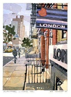 84 Christopher Street-West Village, NYC - by Iain Stewart, Watercolor Watercolor Artwork, Watercolor Landscape, Watercolor City, Watercolor Sketchbook, City Sketch, Urban Sketchers, West Village, Art For Art Sake, City Streets
