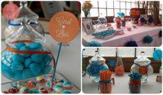 detalles de candy-bar para boda azul y naranja. Wedding