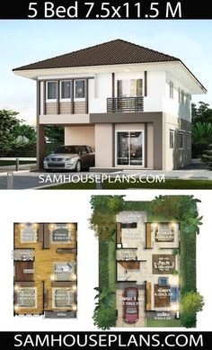 3d House Plans, Model House Plan, House Layout Plans, Duplex House Plans, Craftsman House Plans, Dream House Plans, House Layouts, Two Story House Design, 2 Storey House Design