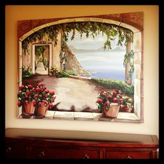 Hand painted tuscan mural brought to life from a photo.