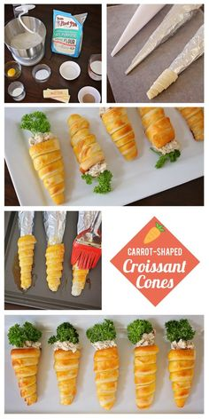 Adorable Carrot-Shaped Croissant Cones for Easter . Adorable Carrot-Shaped Croissant Cones for Easter Easter Snacks, Easter Appetizers, Easter Brunch, Easter Treats, Easter Recipes, Appetizers For Party, Appetizer Recipes, Holiday Recipes, Easter Food