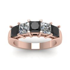 Princess Brilliance Womens Wedding Bands with Black Diamond in 18K Rose Gold exclusively styled by Fascinating Diamonds