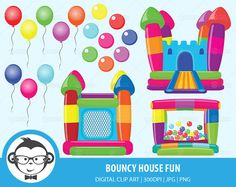 Bouncy House Fun Digital Clipart For by MonkeyGraphicDesign Bouncy House, Bouncy Ball, Bouncy Castle, Clipart Design, Clipart Images, Colourful Balloons, Colorful, Party Logo, Baby Play