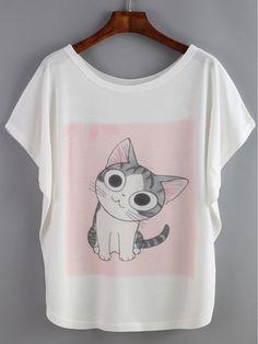 Shop Bat Sleeve Cat Print T-shirt online. SheIn offers Bat Sleeve Cat Print T-shirt & more to fit your fashionable needs.