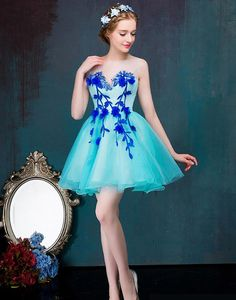 Rochie babydoll albastra Constance Strapless Dress Formal, Formal Dresses, Floral, Style, Fashion, Dresses For Formal, Swag, Moda, Formal Gowns