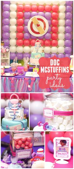 A pink and purple Doc McStuffins girl birthday party with an amazing balloon backdrop! See more party planning ideas at CatchMyParty.com!