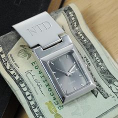 Personalized Graphite Face Watch Money Clip