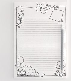Free Printable Stationary from Snailmail Magazine Más Smash Book, Pocket Letters, Budget Planner, Note Paper, Writing Paper, Printable Paper, Mail Art, Pics Art, Coloring Pages