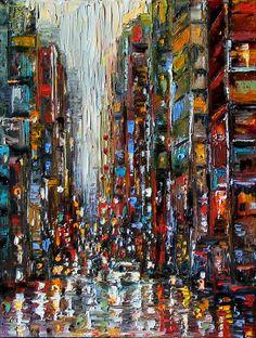Debra Hurd Original Paintings AND Jazz Art: New York City Cityscape Abstract street scene by Debra Hurd