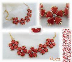 Collier Ana, avec des Khéops®par Puca® en Red metallic Mat