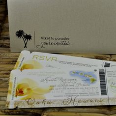 Boarding Pass Invitation or Save the Date  (Araceli Hawaii Orchid Design) - Deposit and Design Fee. $20.00, via Etsy.