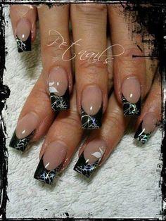 ELECTRIC BLACK French Mani  #nails #nailart #nudepolish - bellashoot.com