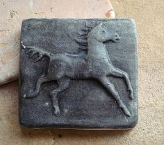 Running Black Horse Ceramic Focal Art Tile by busterbeanknows,