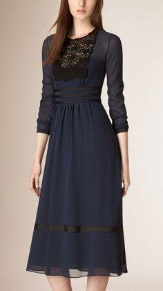 Lace Trim Silk Empire Line Dress