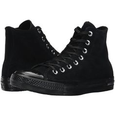 Converse Chuck Taylor All Star - Mono Plush Suede Hi... (110 NZD) ❤ liked on Polyvore featuring shoes, sneakers, black hi top sneakers, lace up sneakers, black high top sneakers, converse high tops and black shoes