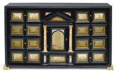 A NORTH ITALIAN PIETRA PAESINA AND EBONISED WOOD CABINET WITH GILT-BRONZE MOUNTS, 17TH CENTURY