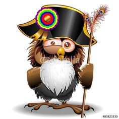 Vettoriale: Crazy Owl Cartoon Napoleon Bonaparte