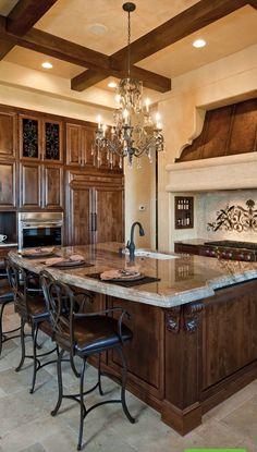 Luxury Kitchens, Home Kitchens, Tuscan Kitchens, Modern Kitchens, Dream Kitchens, Custom Kitchens, Mediterranean Home Decor, Mediterranean Architecture, Tuscan Decorating